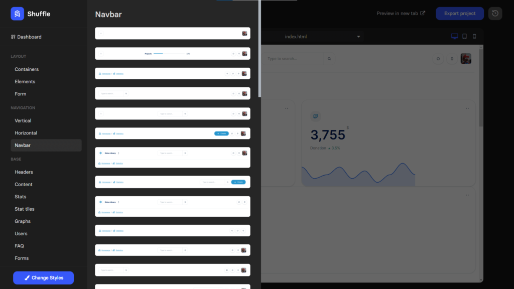 Navbar components for dashboard template in Bootstrap