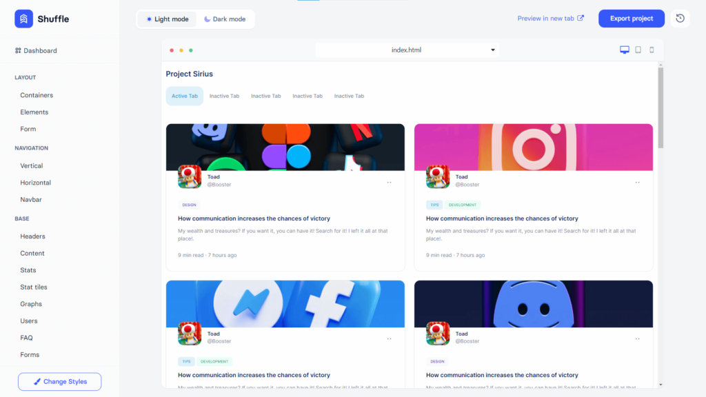Example of content component - dashboard template in Bootstrap