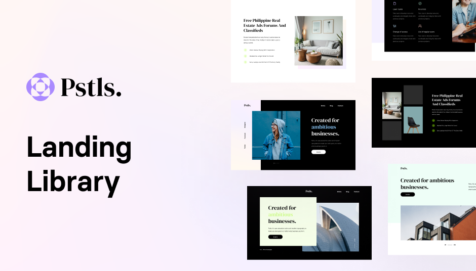 new website template in pastel colors