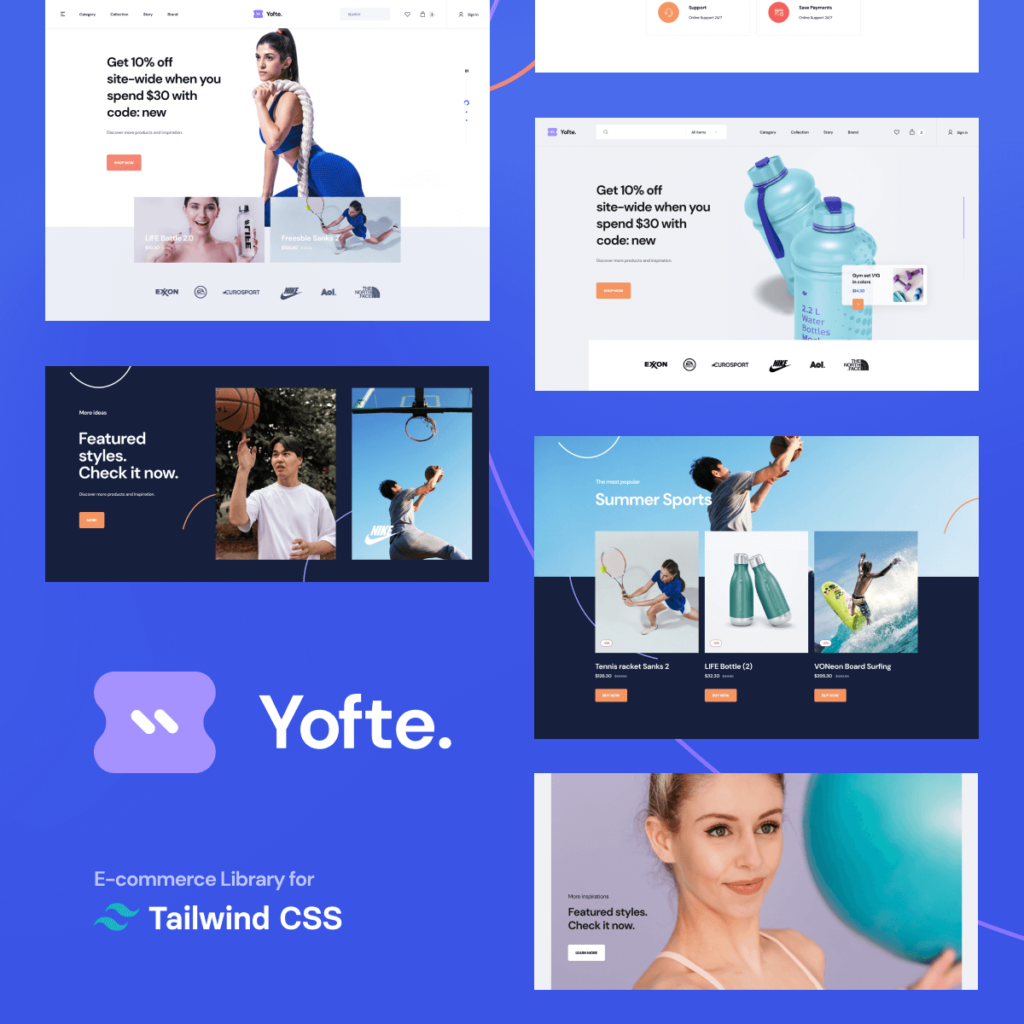Tailwind UI alternative - Yofte E-commerce UI library components preview